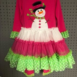 Tutu Cute Hot Pink and Lime Green Snowman Outfit!